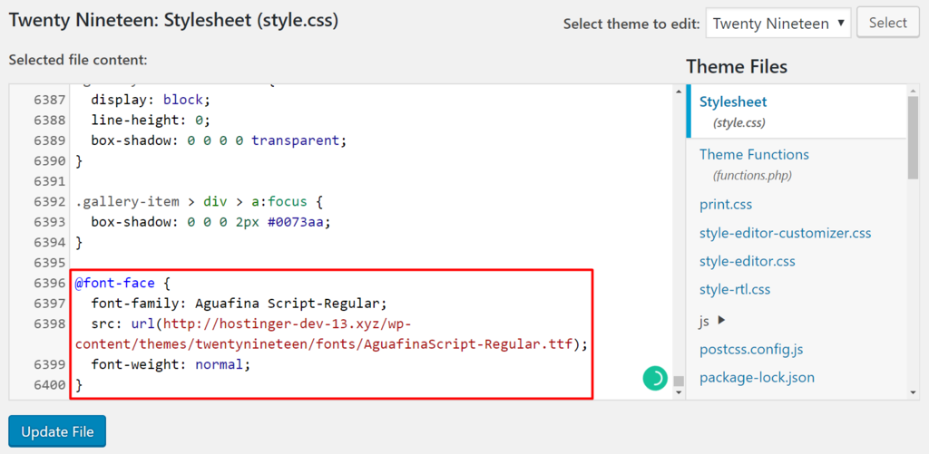 Updating style.css file using the Theme Editor in WordPress