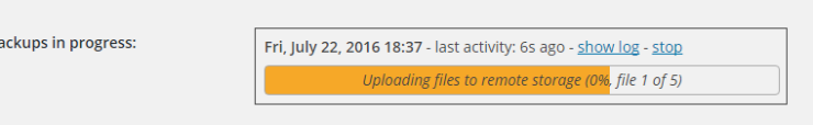 UpdraftPlus backup in progress