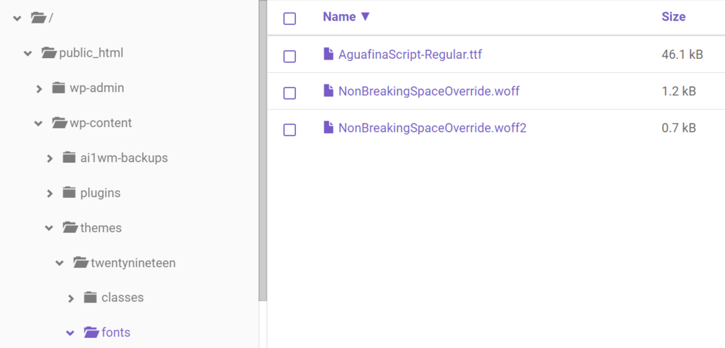 Manually uploading fonts using Hostinger's File Manager