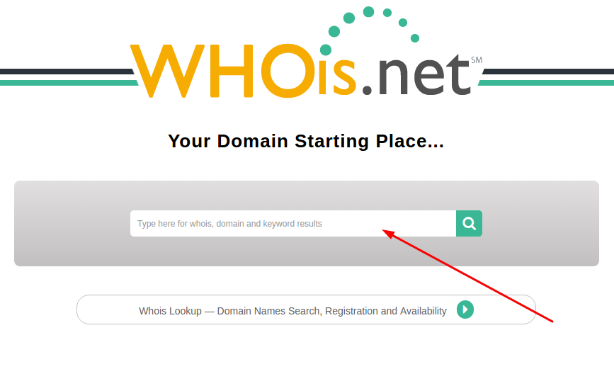 Whois.net search panel