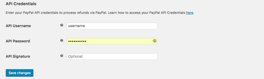 WooCommerce PayPal Settings API Credentials