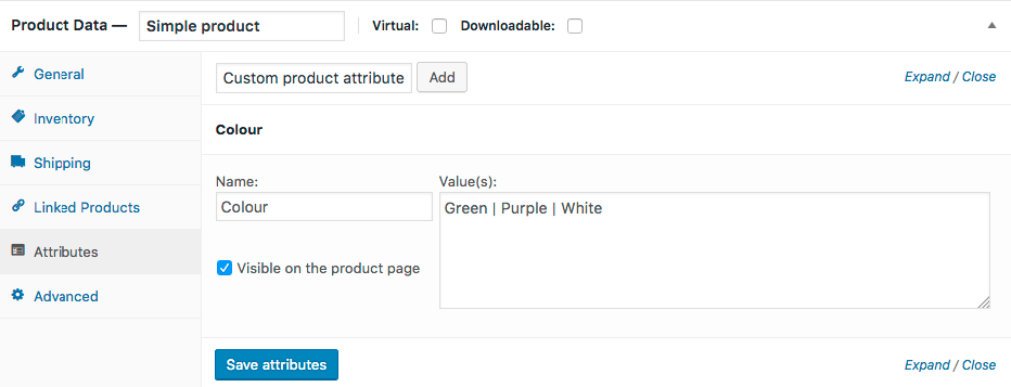 WooCommerce Attributes Section