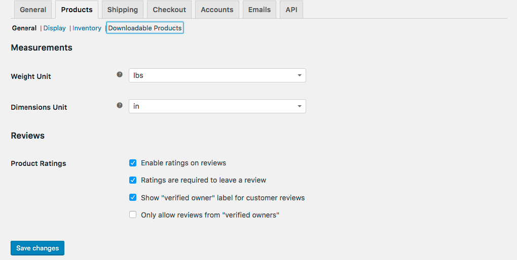 WooCommerce Settings Products Tab