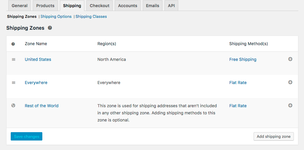 WooCommerce Settings Shipping Tab