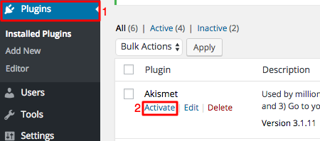 WordPress Akismet Activation