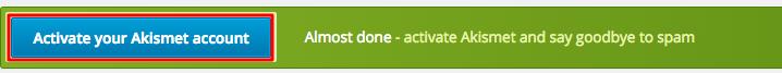 WordPress Akismet Success Message