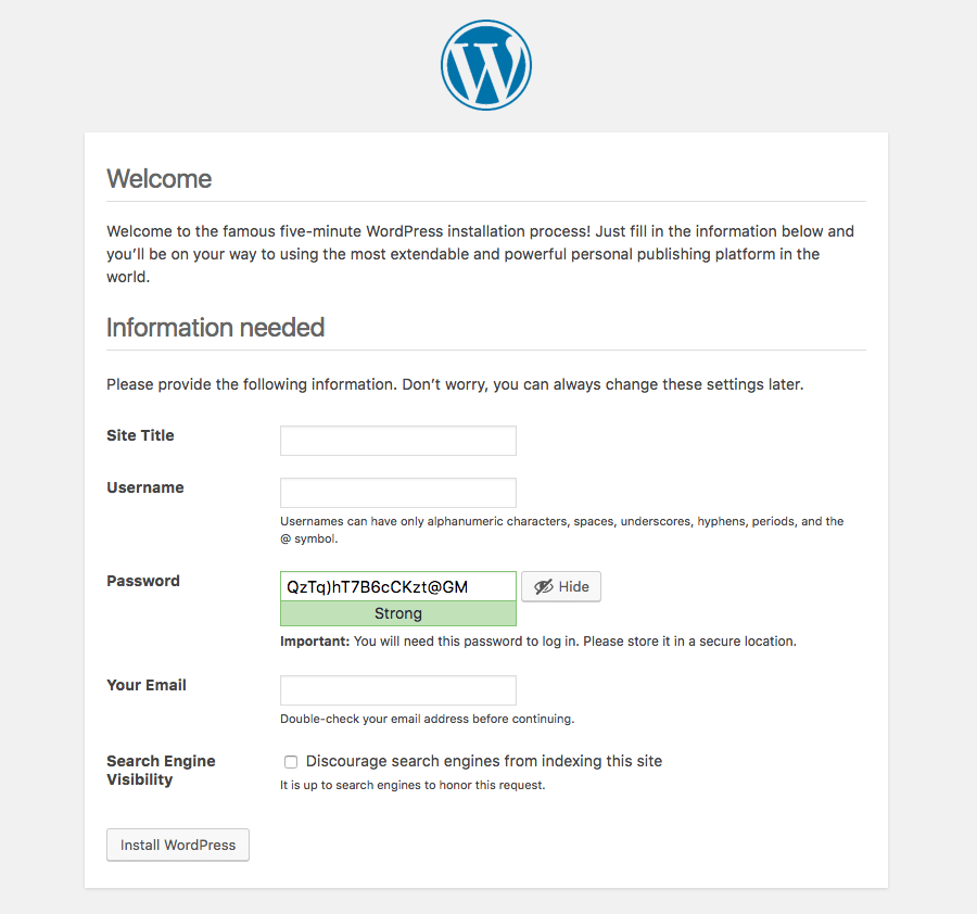 WordPress Installation Form Enter Site Details