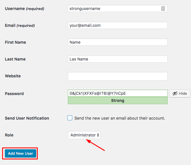 WordPress Create New User Form