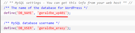 WordPress database name in wp-config.php