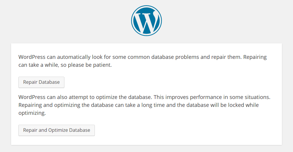 Choose either option to perform the database repair.