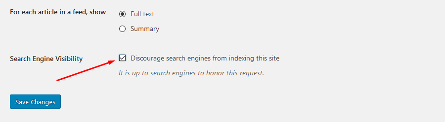 Wordpress Discourage search engines from indexing this site