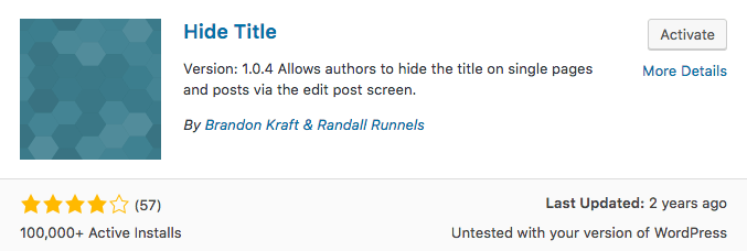 Plugin untuk menyembunyikan judul WordPress
