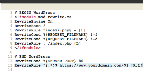 WordPress htaccess file with https redirect