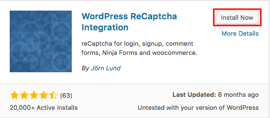 WordPress ReCaptcha Integration Installation