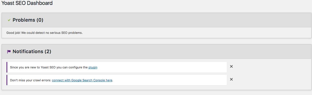 WordPress SEO Yoast Dashboard