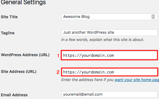 WordPress Adding SSL URLs Change