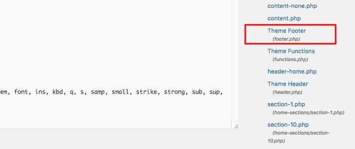 WordPress Theme footer