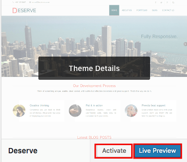 WordPress Theme Activate Button