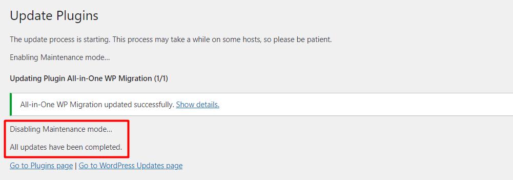 WordPress's updates completed message