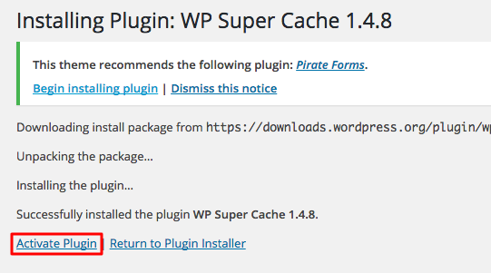 WordPress WP Super Cache Activate