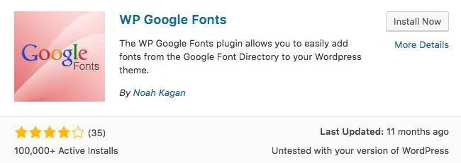 WP Google Fonts Plugin