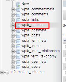 phpmyadmin wp options