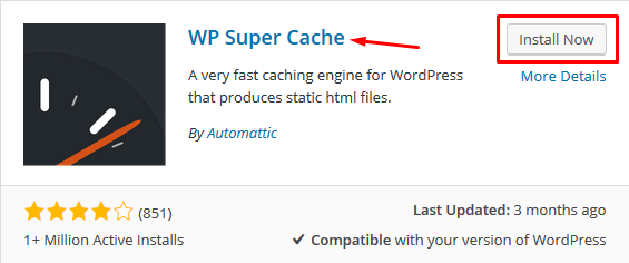 Installing WP Super Cache