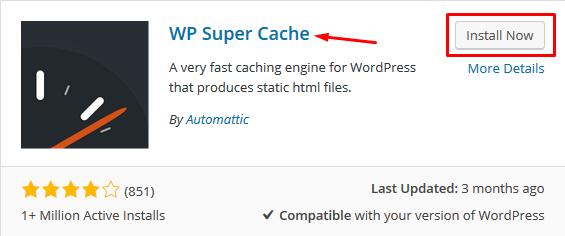 Installing WP Super Cache