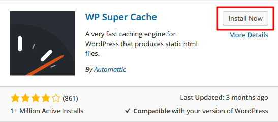 WordPress WP Super Cache Plugin Install Button