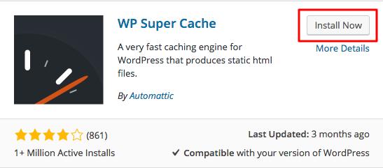 WordPress WP Super Cache Plugin Install Button