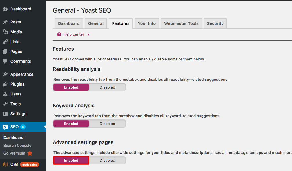 Yoast Advanced Settings Feature