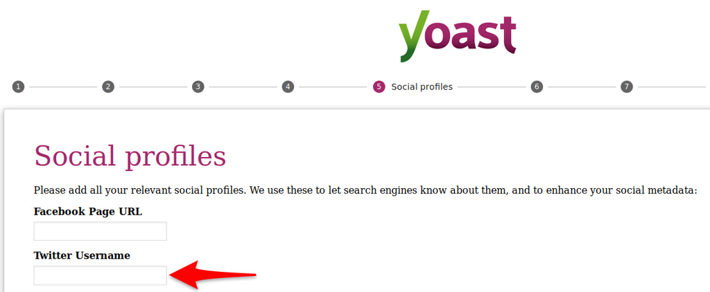 Filling your details for Yoast