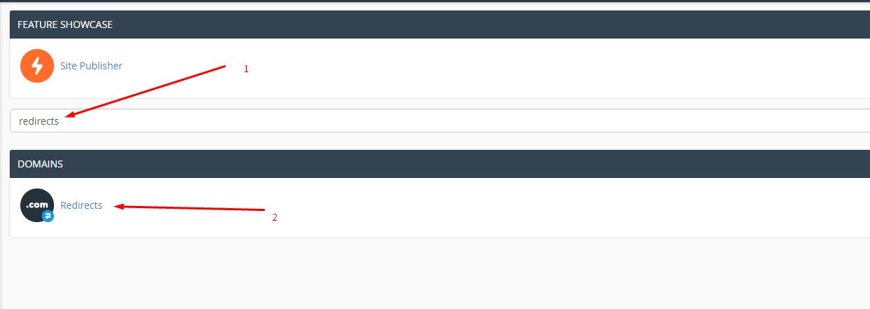 """Search bar, keyword """"redirects"""""""