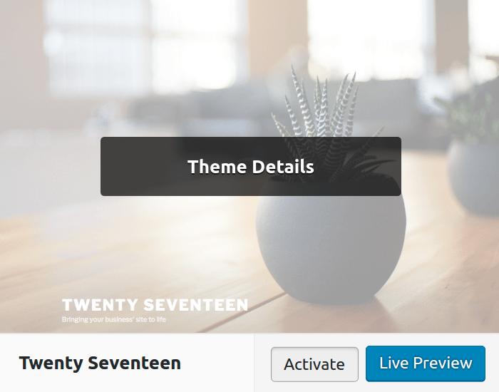 Activating a new WordPress theme via Dashboard