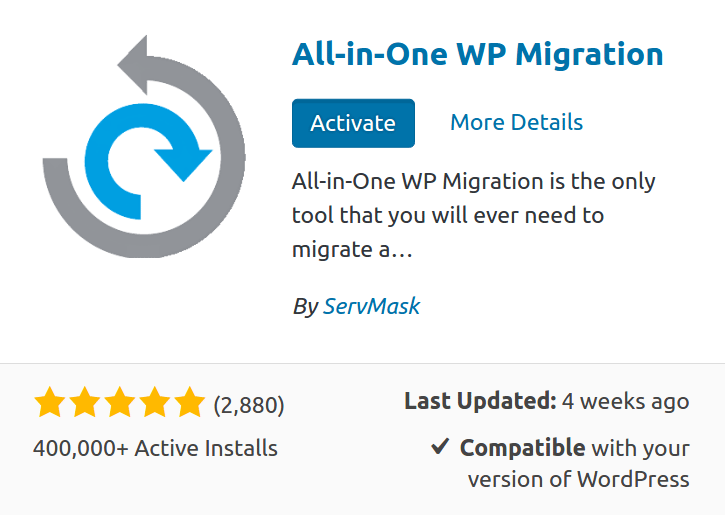 Plugin All-in-one WP migration