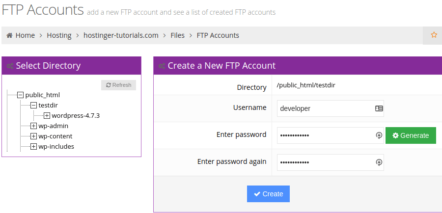 How to Create FTP Accounts