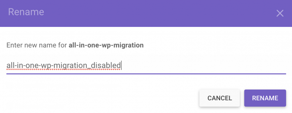 rename a plugin by adding the word disabled