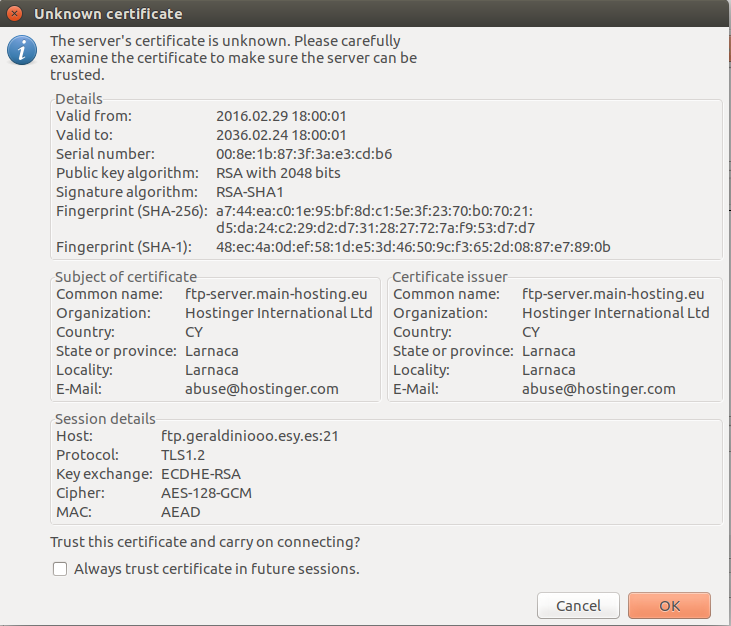 FileZilla FTP client FTP over TLS connection confirmation