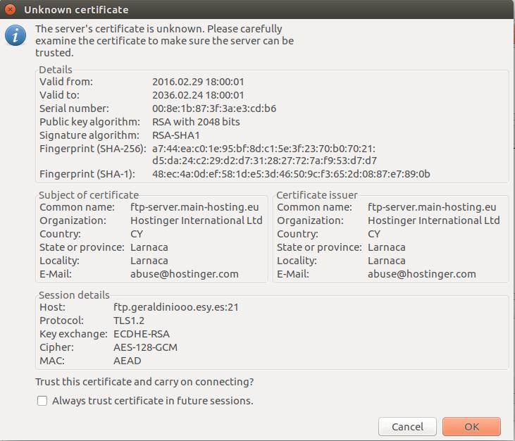 FileZilla FTP client FTP qua kết nối TLS