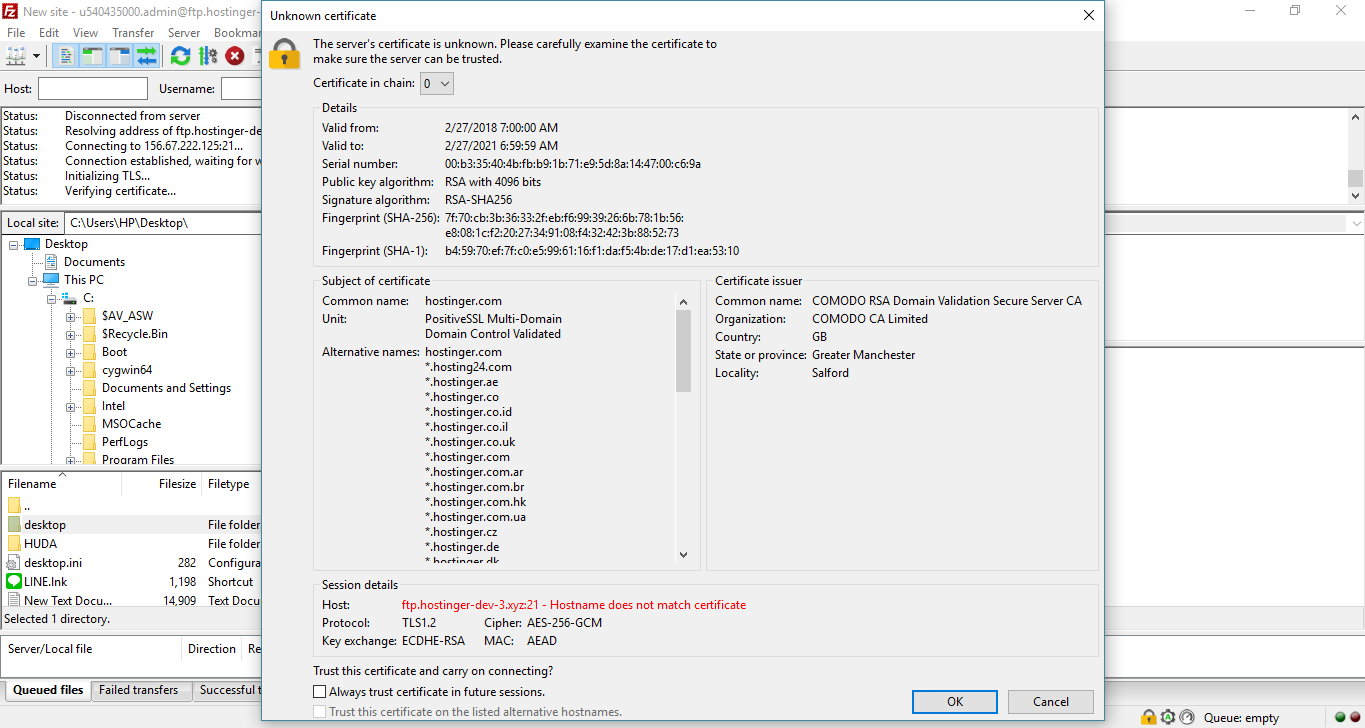 This image shows you the TLS certificate inspection screen in FileZilla