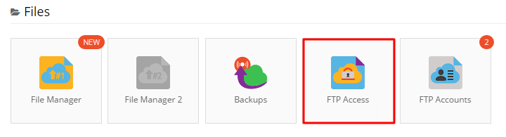 FTP access section on Hostinger control panel