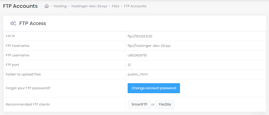 This image shows you FTP account credentials