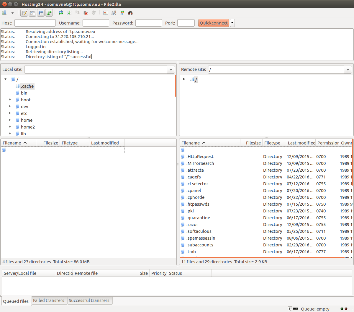 FileZilla FTP client connection successful