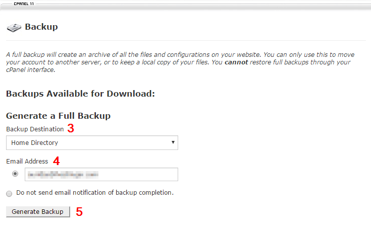 Choose Backup Destination, Email Address and click Generate Backup.