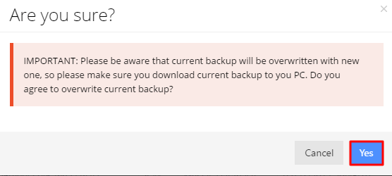 Confirming the generation of a new backup