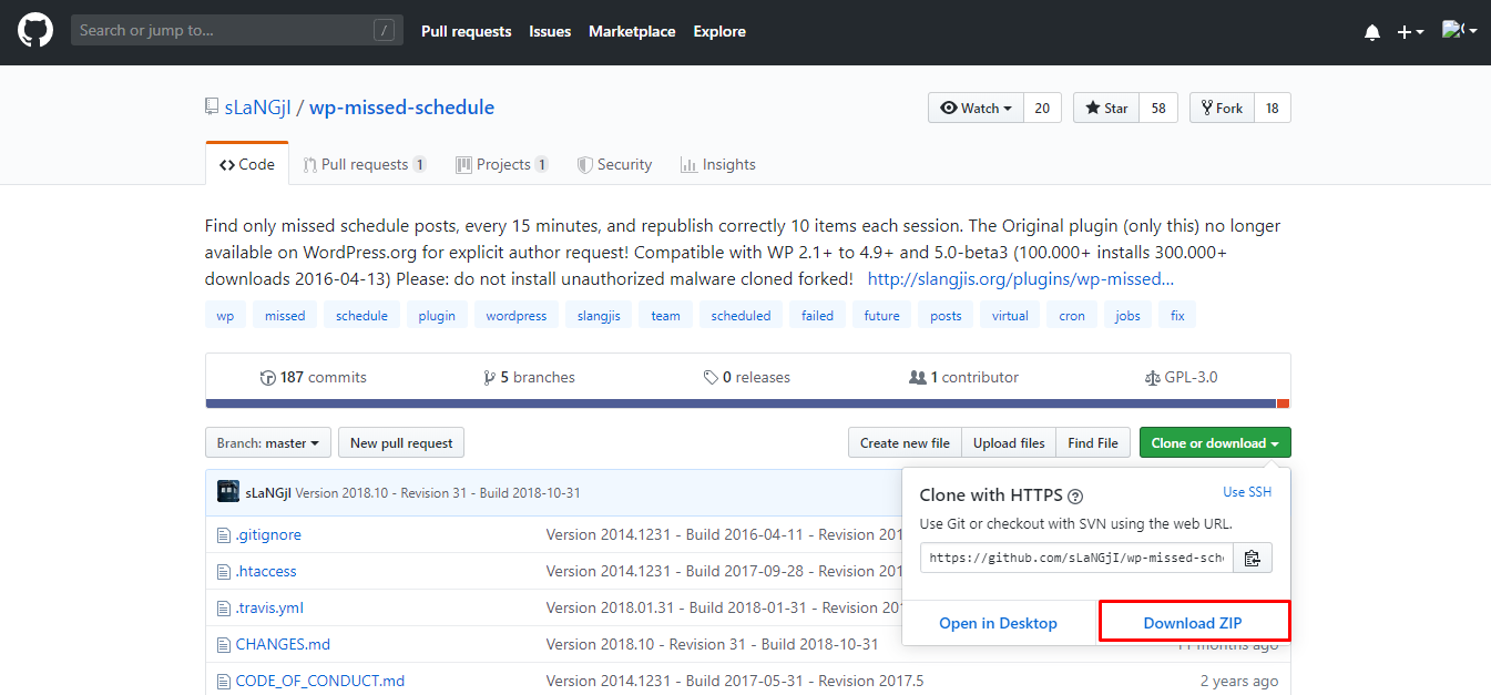"GitHub repository downloading WordPress plugin ""wp-missed-schedule"""