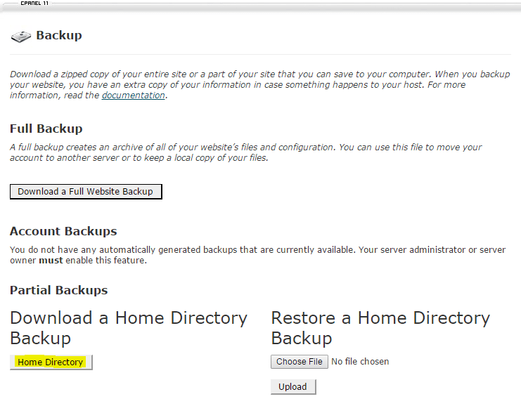 Click Home Directory to start the download process.