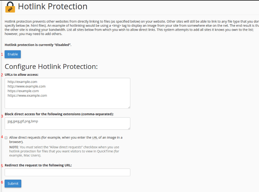 HotLink protection options