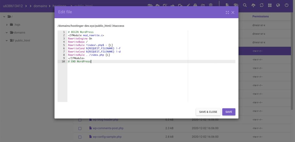 Editing the .htaccess file in WordPress.
