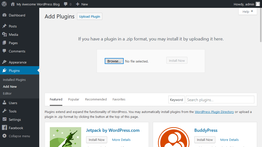 Menginstall plugin WordPress secara manual